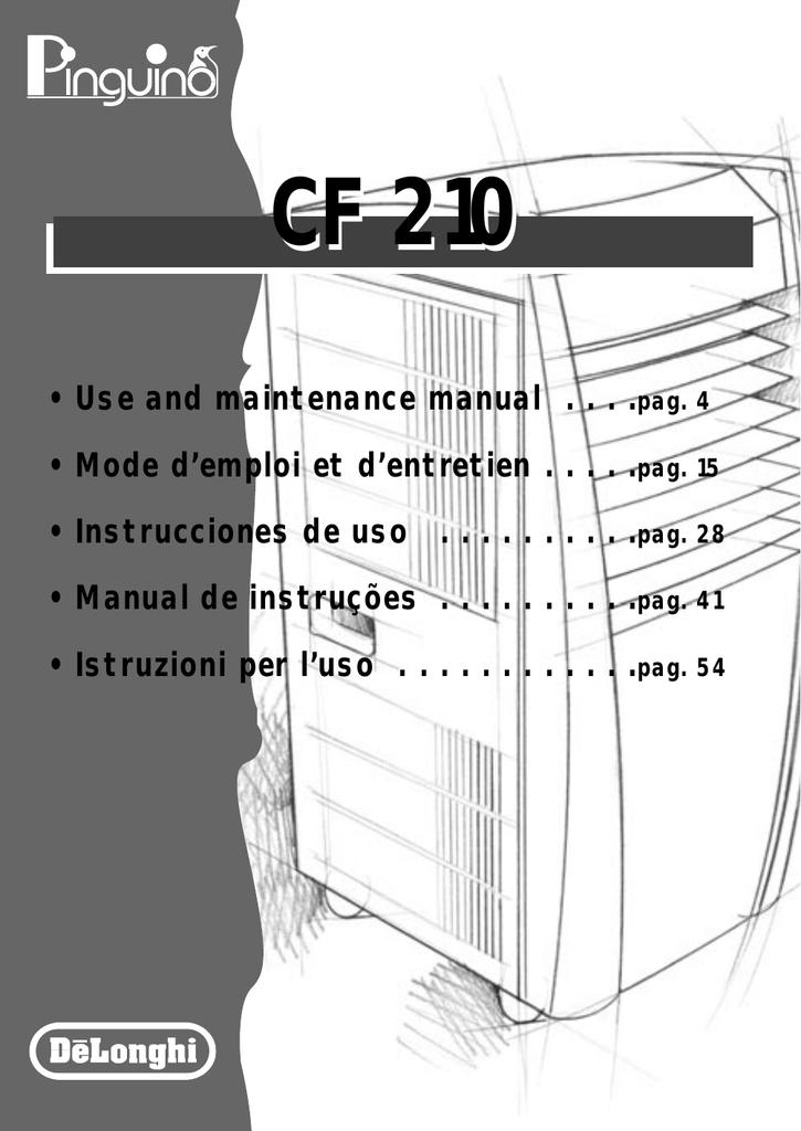 delonghi cf210 instruction manual manualzz com rh manualzz com DeLonghi Dehumidifier DE500P Parts delonghi cf210 user manual