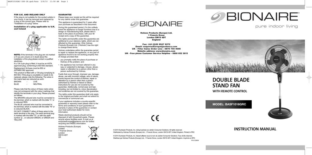 Bionaire BASF1016G Instruction manual | manualzz com
