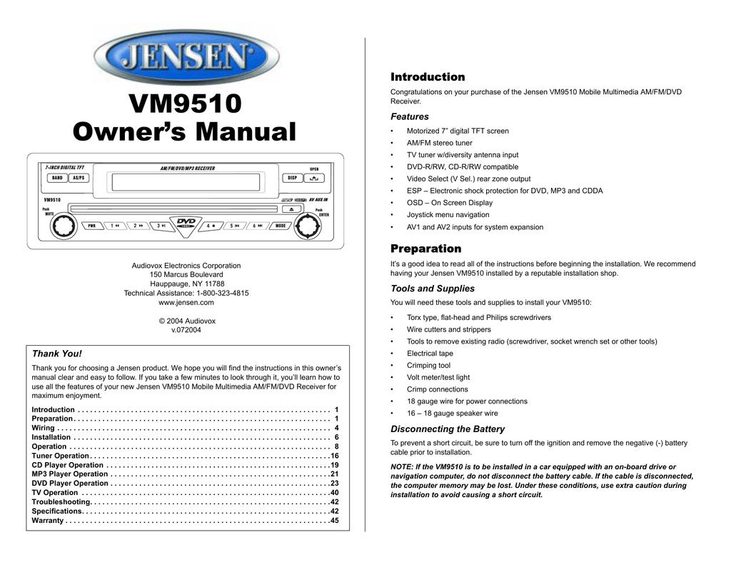 Audiovox Vm9510ts Owners Manual Jensen Vm9510 Wiring Diagram