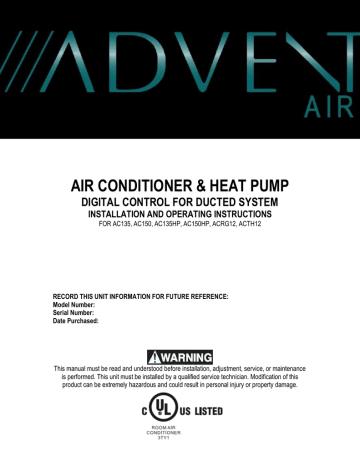 Advent AC150, ACRG12, AC135HP, AC135, AC150HP, ACTH12 Operating  instructions | Manualzz | Advent Air Thermostat Wiring Diagram |  | Manualzz