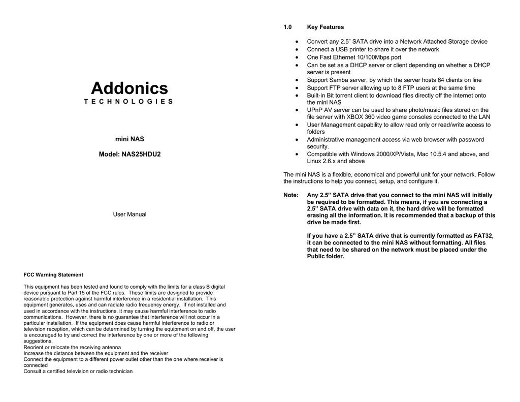 Addonics NAS25HDU2 Mini NAS Drivers Download