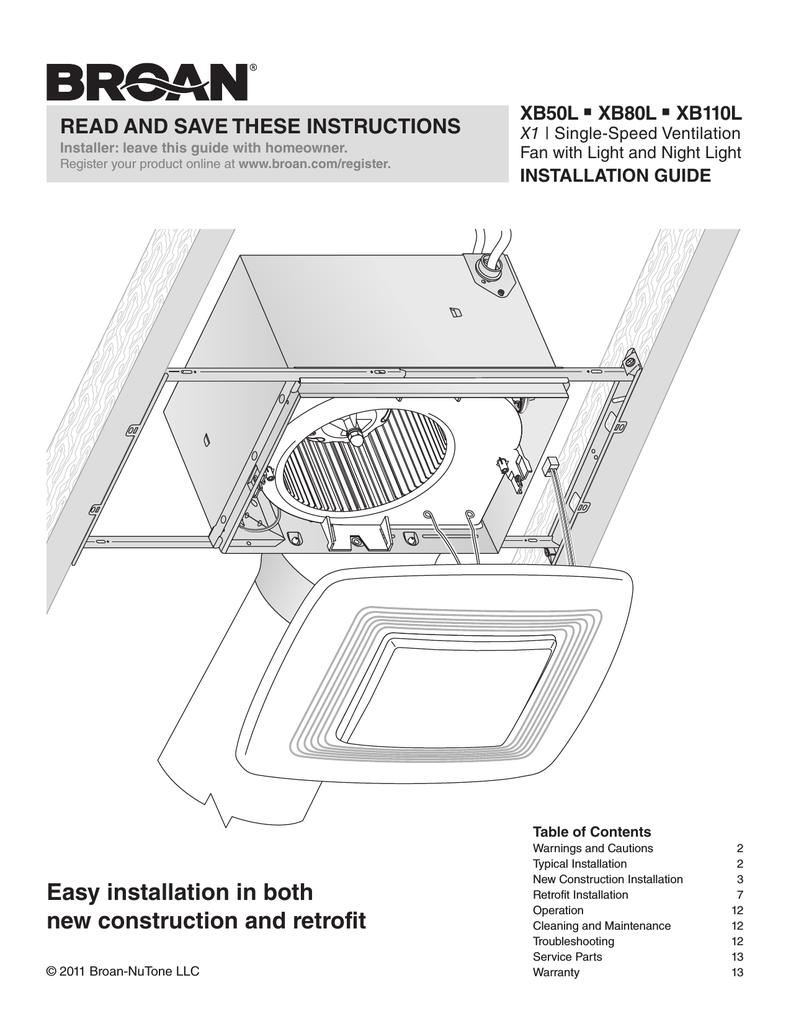 Broan XB50L Installation guide | Manualzzmanualzz