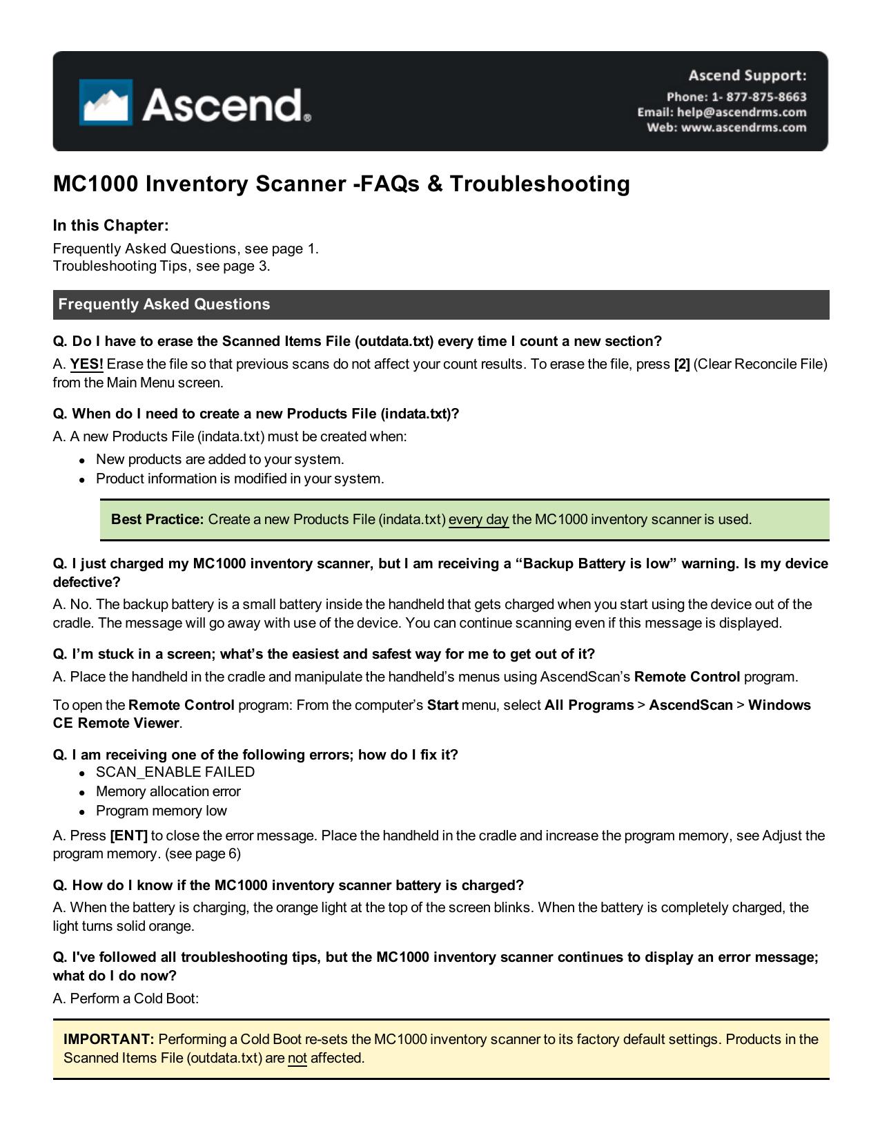 MC1000 FAQs & Troubleshooting | manualzz com