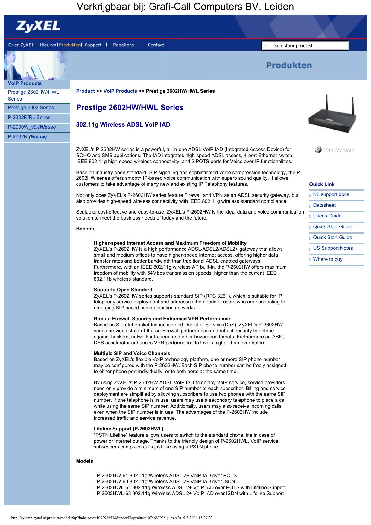 ZyXEL Prestige 2602HW-63 ADSL2+ VoIP ISDN - Grafi-Call | manualzz com