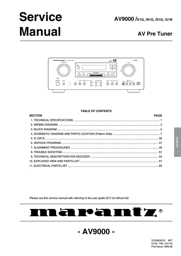 Marantz AV9000S1G Service manual | manualzz.com on