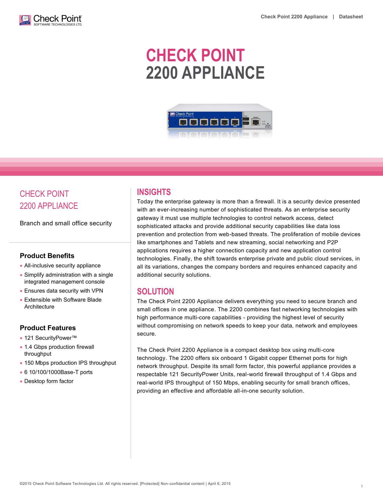 2200 Appliance Datasheet - Check Point Software Technologies