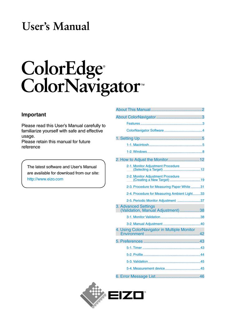 Eizo ColorNavigator User`s manual   manualzz com