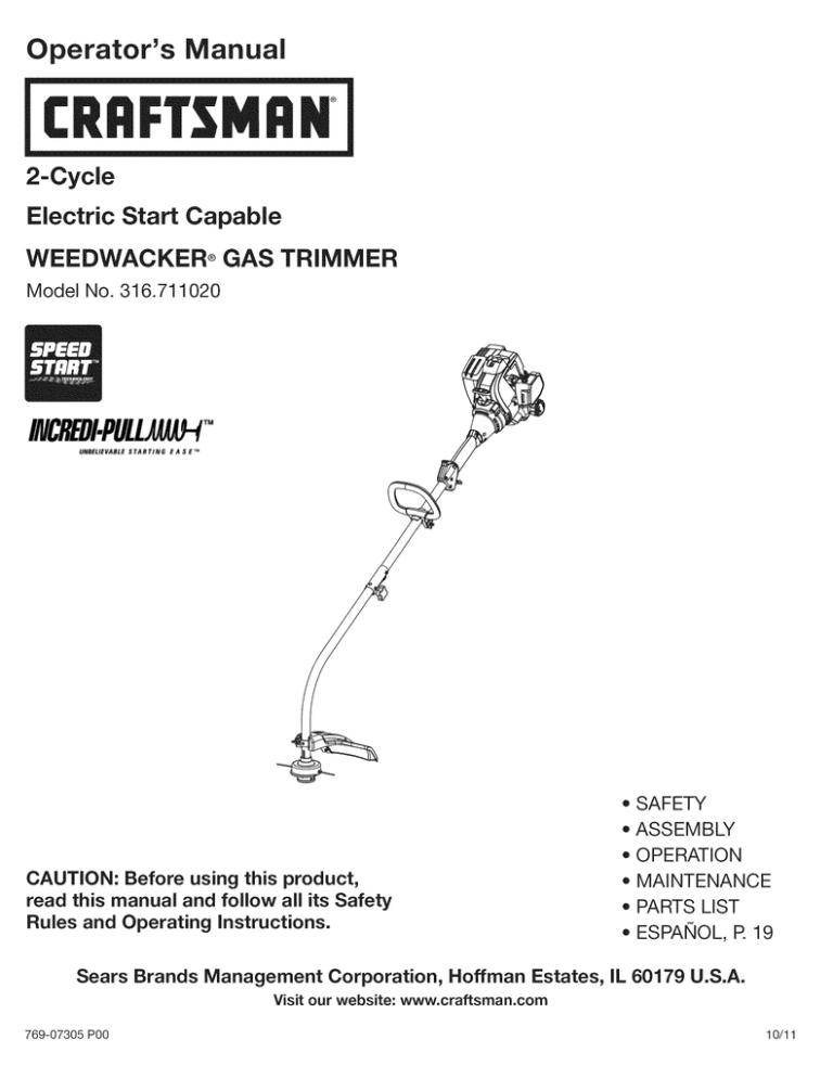 Craftsman Weedwacker Incredi Pull 316 711020 User Manual