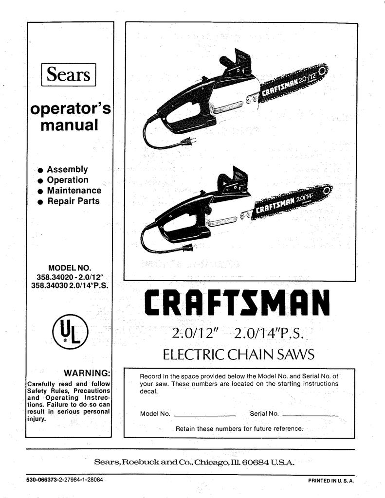 Craftsman 358 34020 Operator S Manual