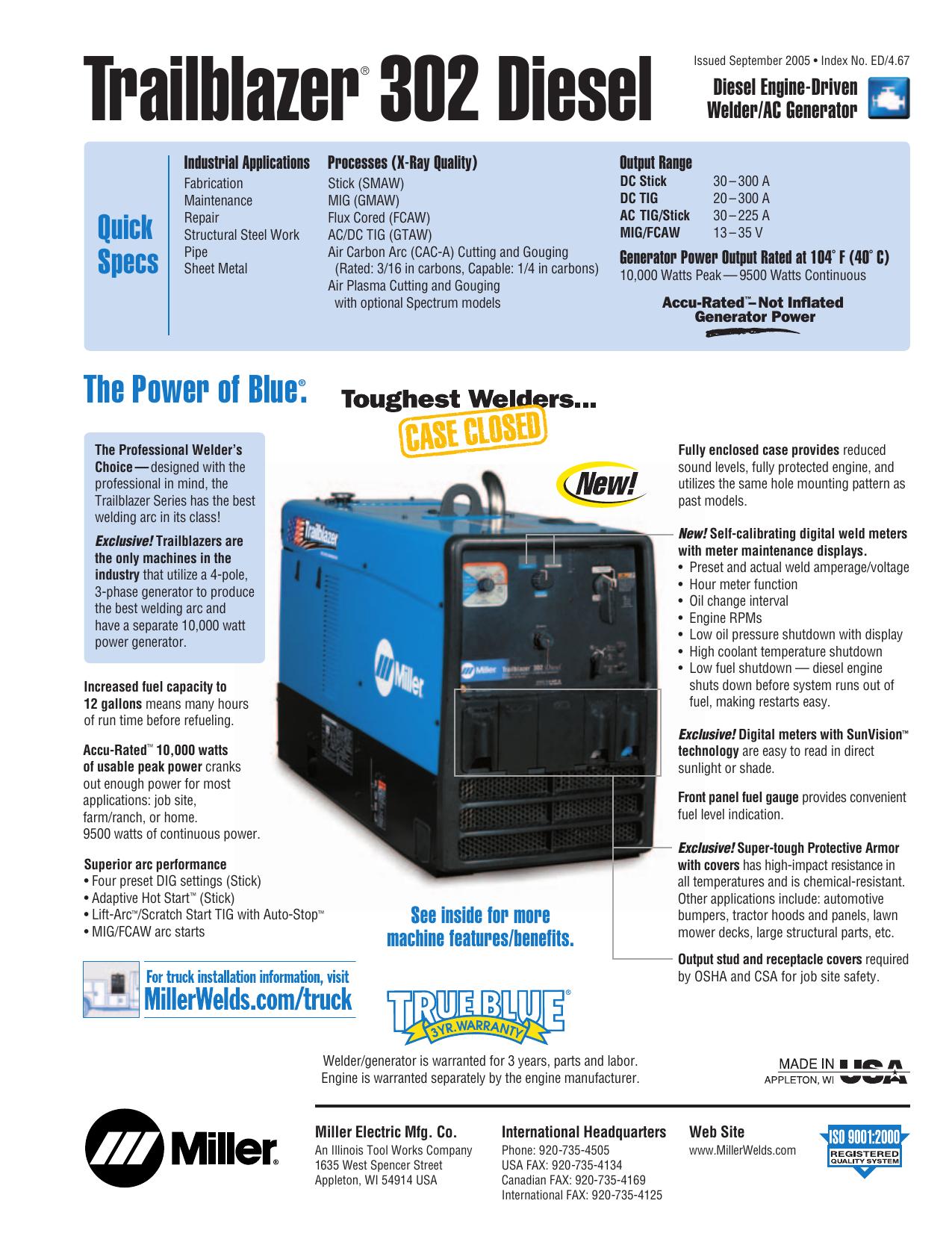 Miller Trailblazer 301 D User Manual Manualzz