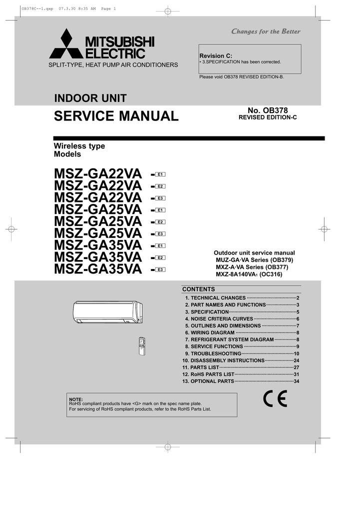 Mitsubishi mszge09na indoor unit service manual free.