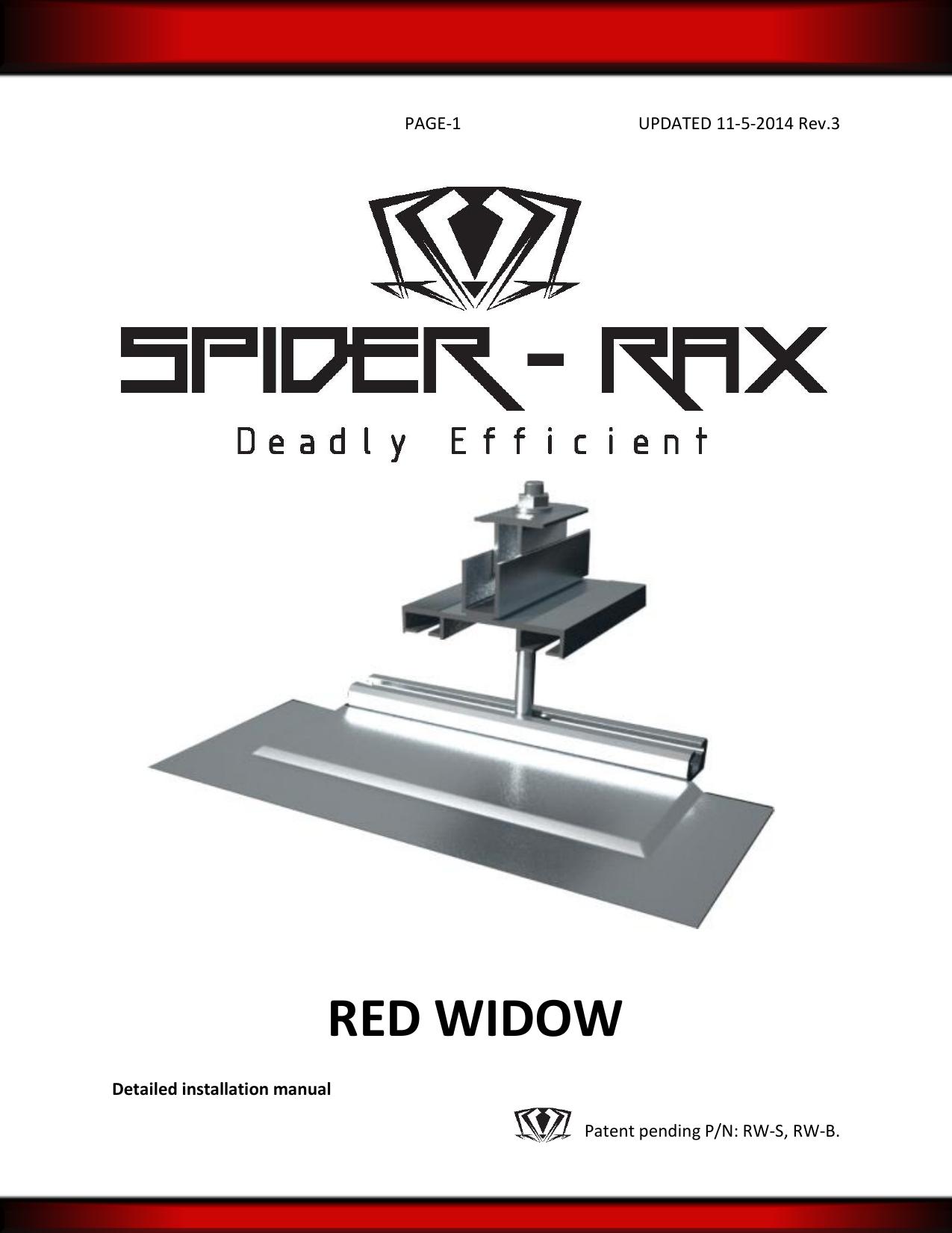 Red Widow Spider Rax Manualzzcom