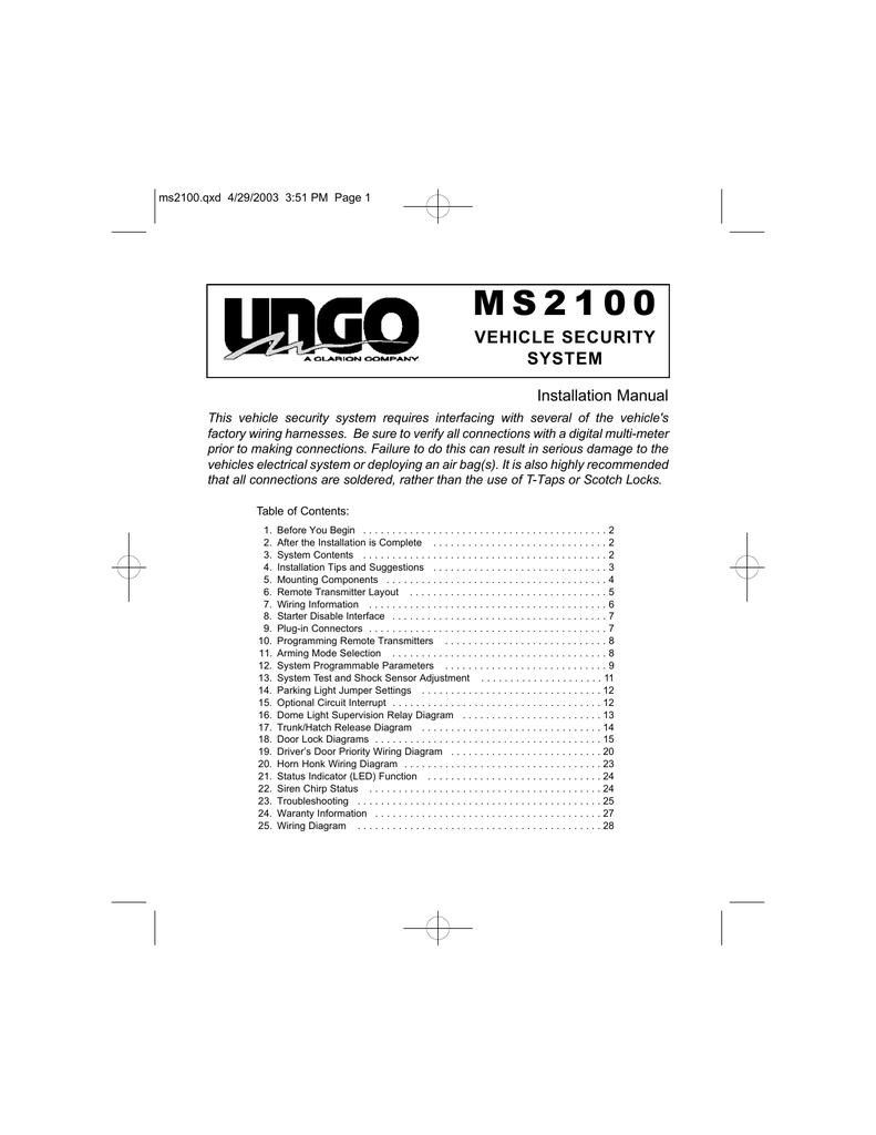 Clarion MS2100 Installation manual   Manualzzmanualzz