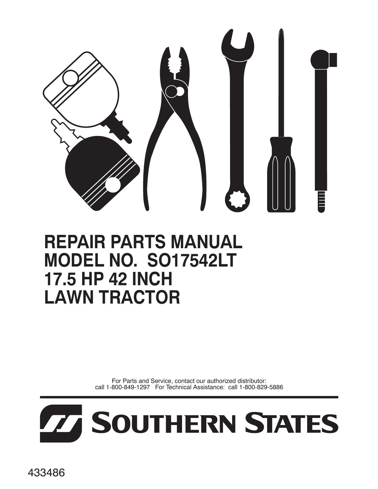... Array - repair parts manual model no so17542lt 17 5 hp 42 inch lawn  tractor rh