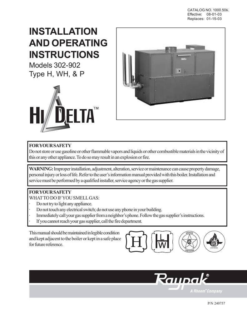 Raypak Hi Delta 302a 902a Operating Instructions Manualzz