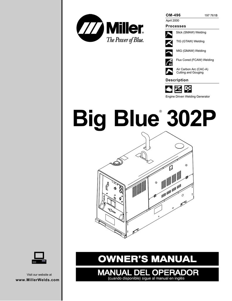 Miller Electric Big Blue 302P Owner`s manual   manualzz.com on