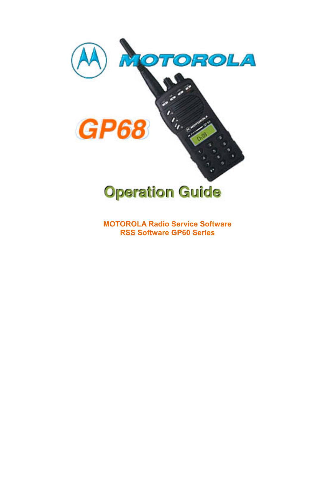 Motorola GP68 RADIO TRANSMITTER User`s manual | manualzz com