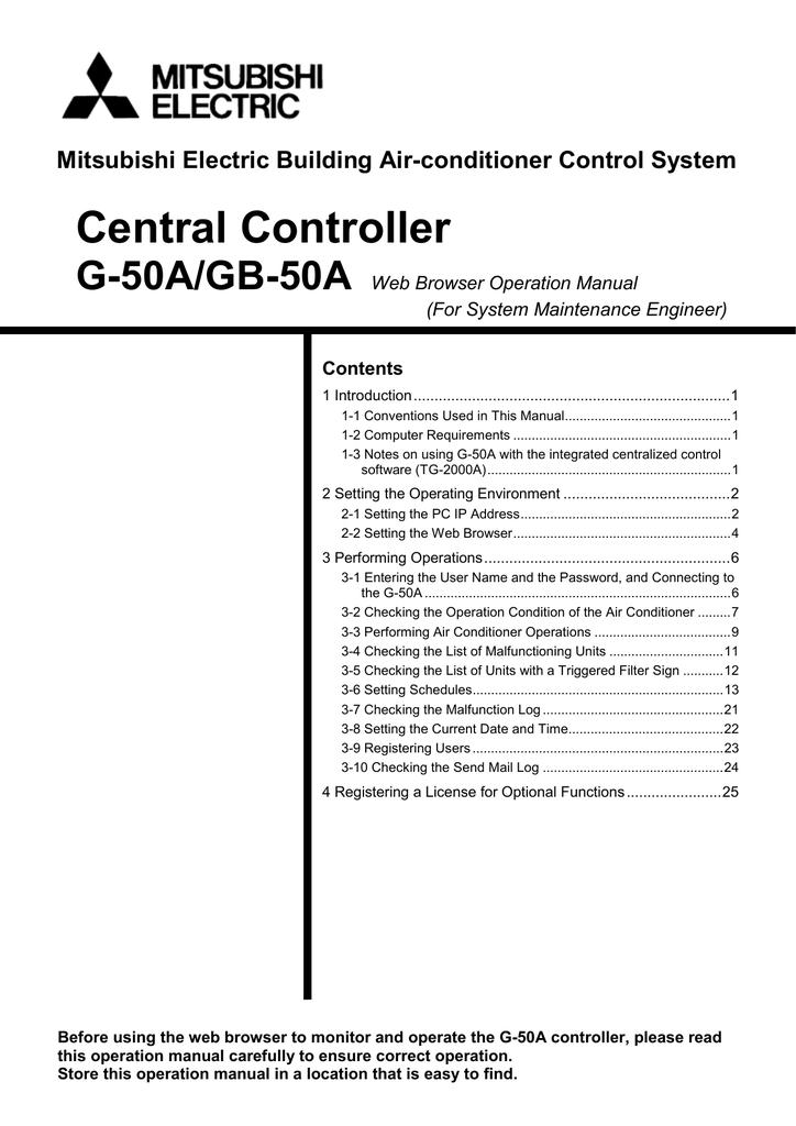 Central controller g-50a airco line.