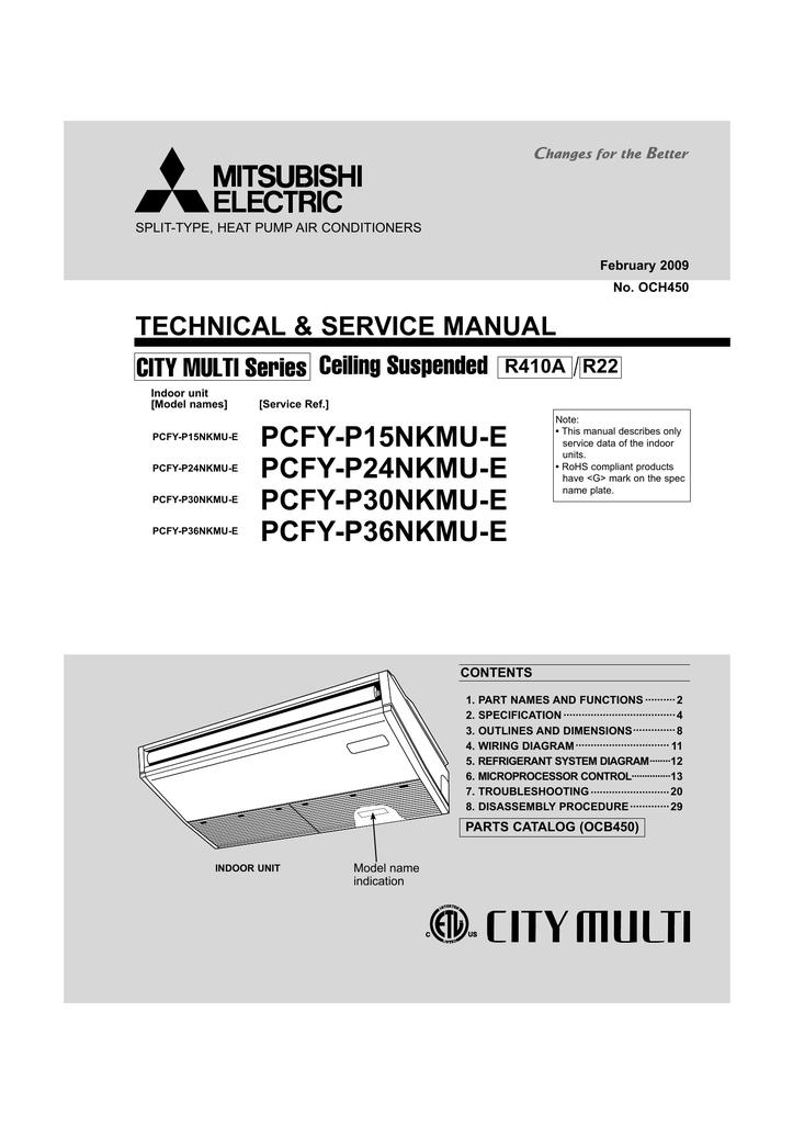 Mitsubishi Electric Pkfy P30nkmu E Service Manual Manualzz