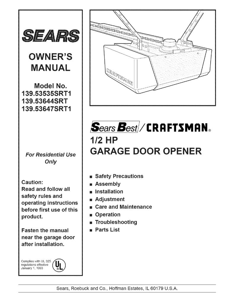 Craftsman 139 53644srt Operating Instructions Manualzz