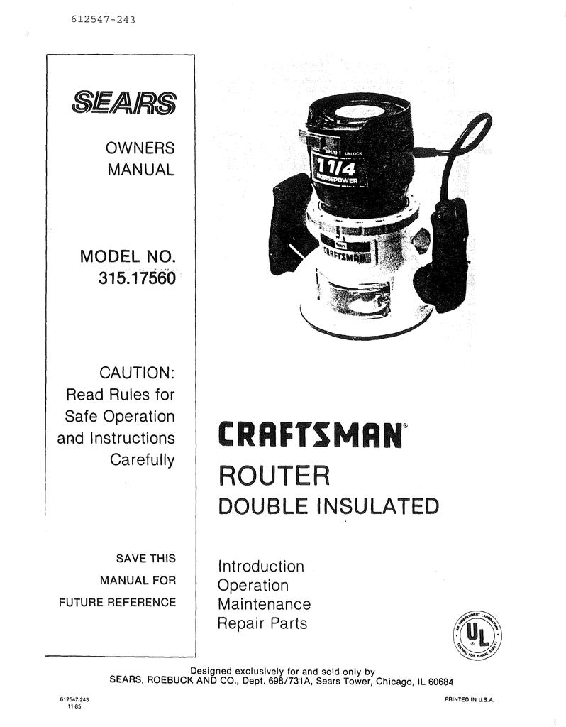 Craftsman 315 17560 Owner S Manual Manualzz
