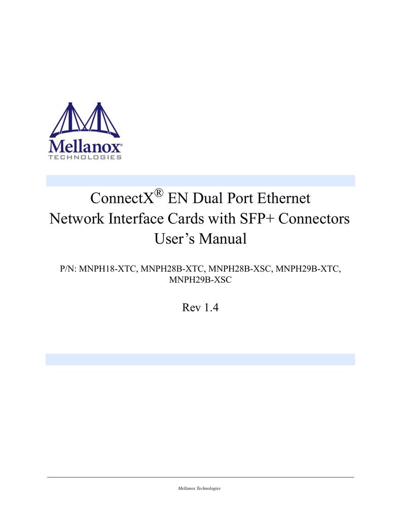 MELLANOX CONNECTX EN MNPH28B-XSC DRIVER WINDOWS XP