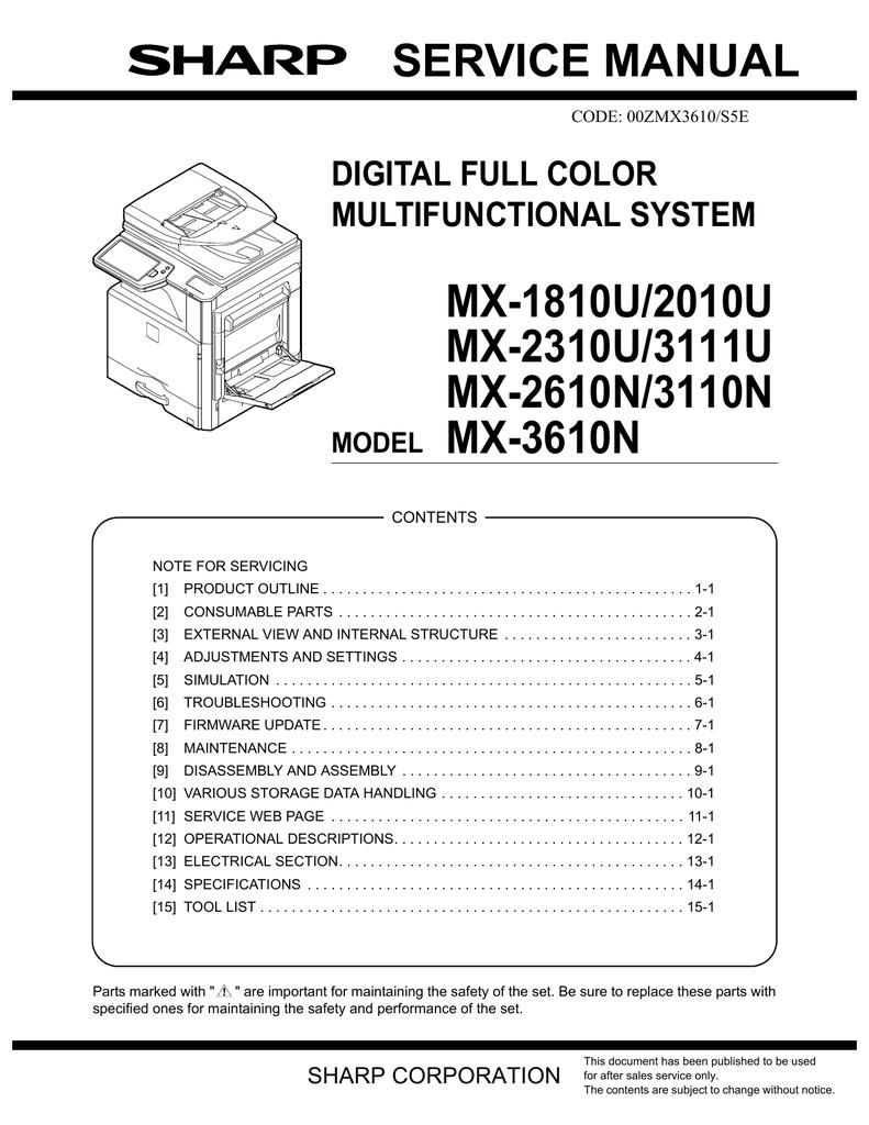 Sharp Mx 2310u Service Manual Manualzz