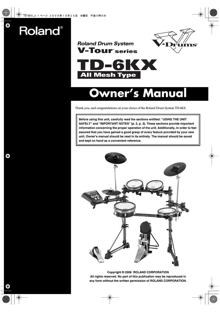 Roland TD-6KX Owner`s manual   manualzz com