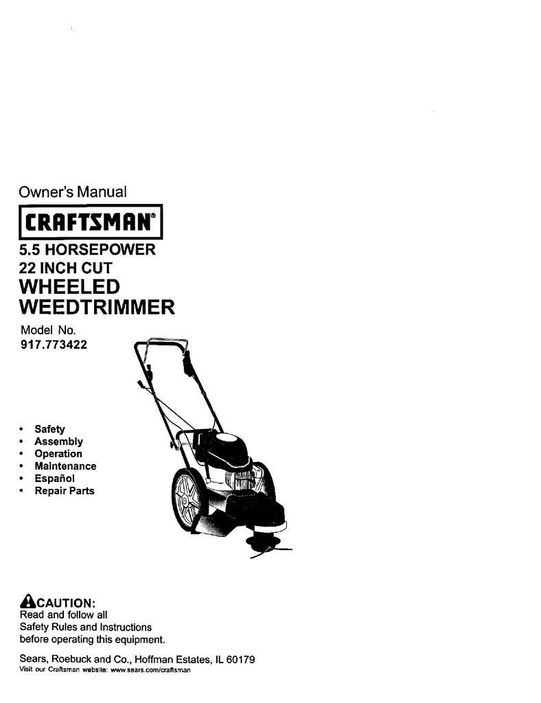 Craftsman 917773422 Owners Manual Handle Diagram And Parts List For Weedeater Walkbehindlawnmower