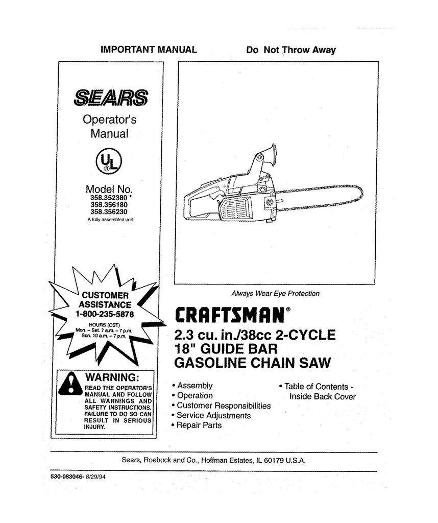 Craftsman 358 356230 Operator S Manual