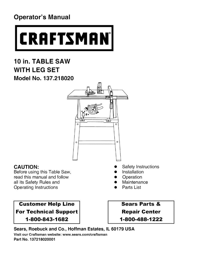 Craftsman 137218020 Operators Manual Compound Miter Saw Wiring Diagram