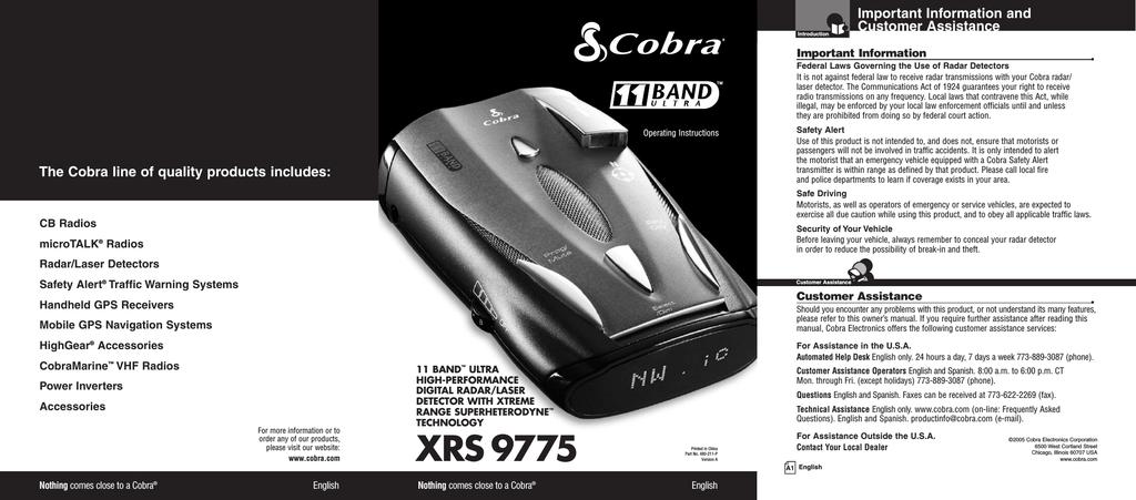 Cobra XRS9775 Operating instructions | manualzz com