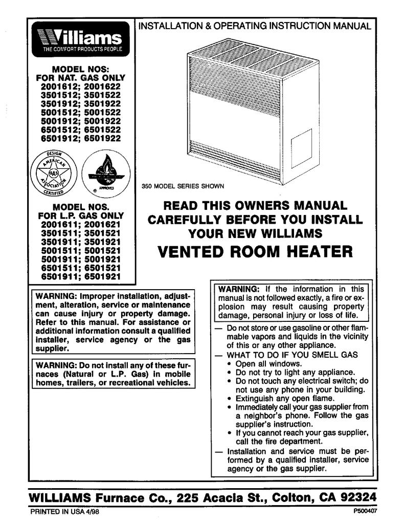 williams 3501922a instruction manual manualzz com williams wall furnace wiring diagram williams wall furnace wiring