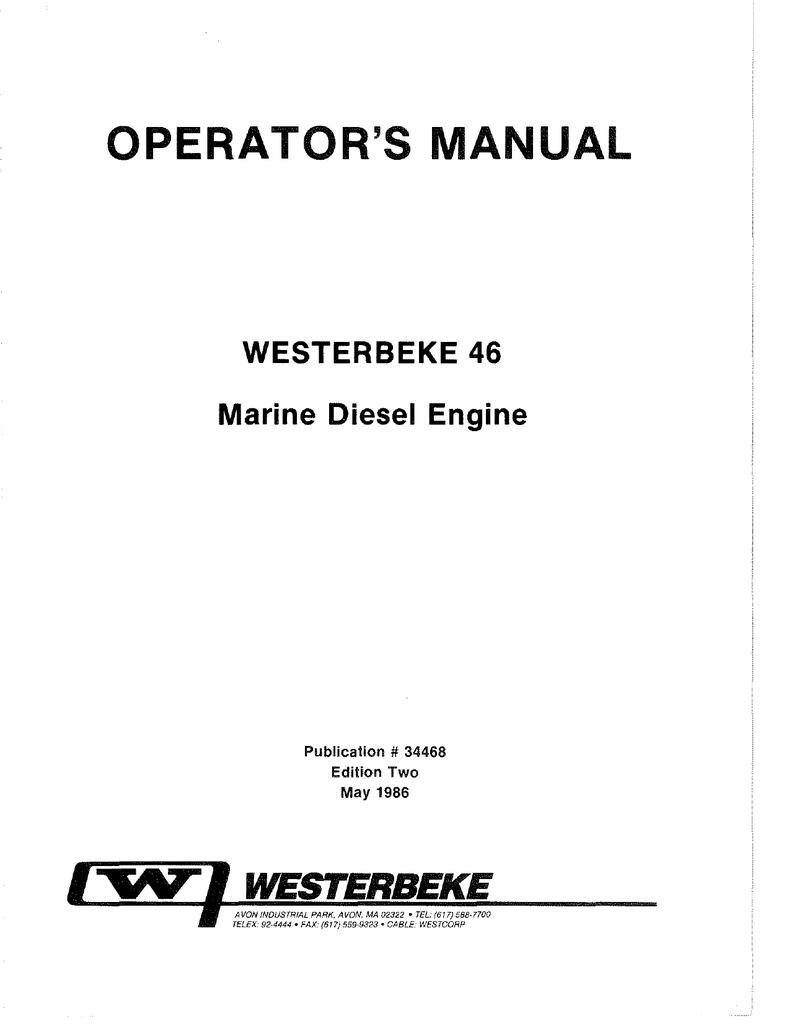 Westerbeke 35 Wiring Diagram Electrical Diagrams Marine Power 46 Operators Manual Manualzz Com