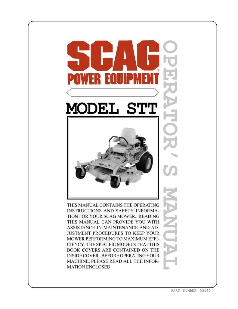 Scag Power Equipment STT-29DF-SS Operating instructions