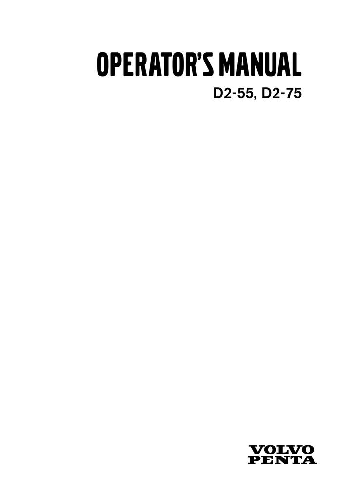 volvo penta d2 55 d2 75 marine workshop service manual