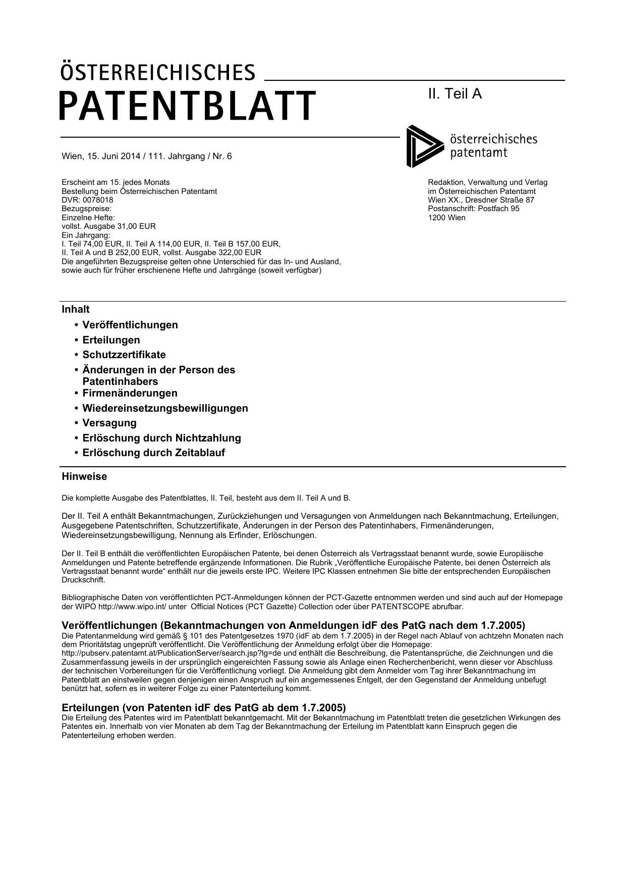 Patentblatt Juni 2014 Teil II Das Österreichische