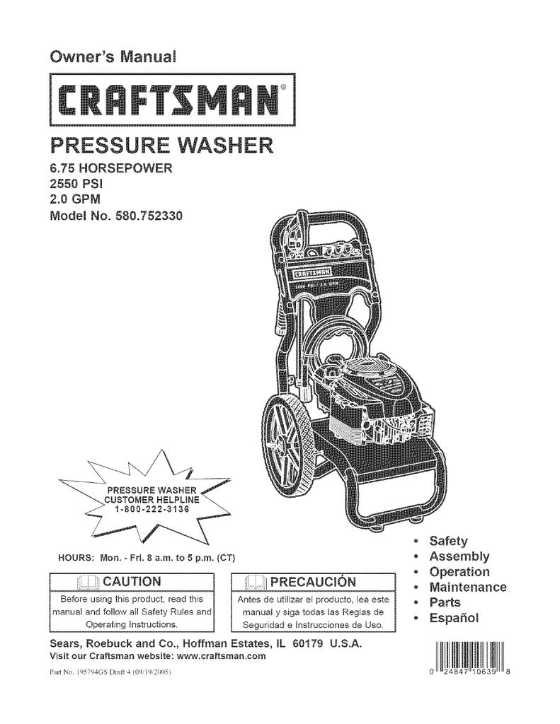 Craftsman 580.752330 Owner`s manual   manualzz.com