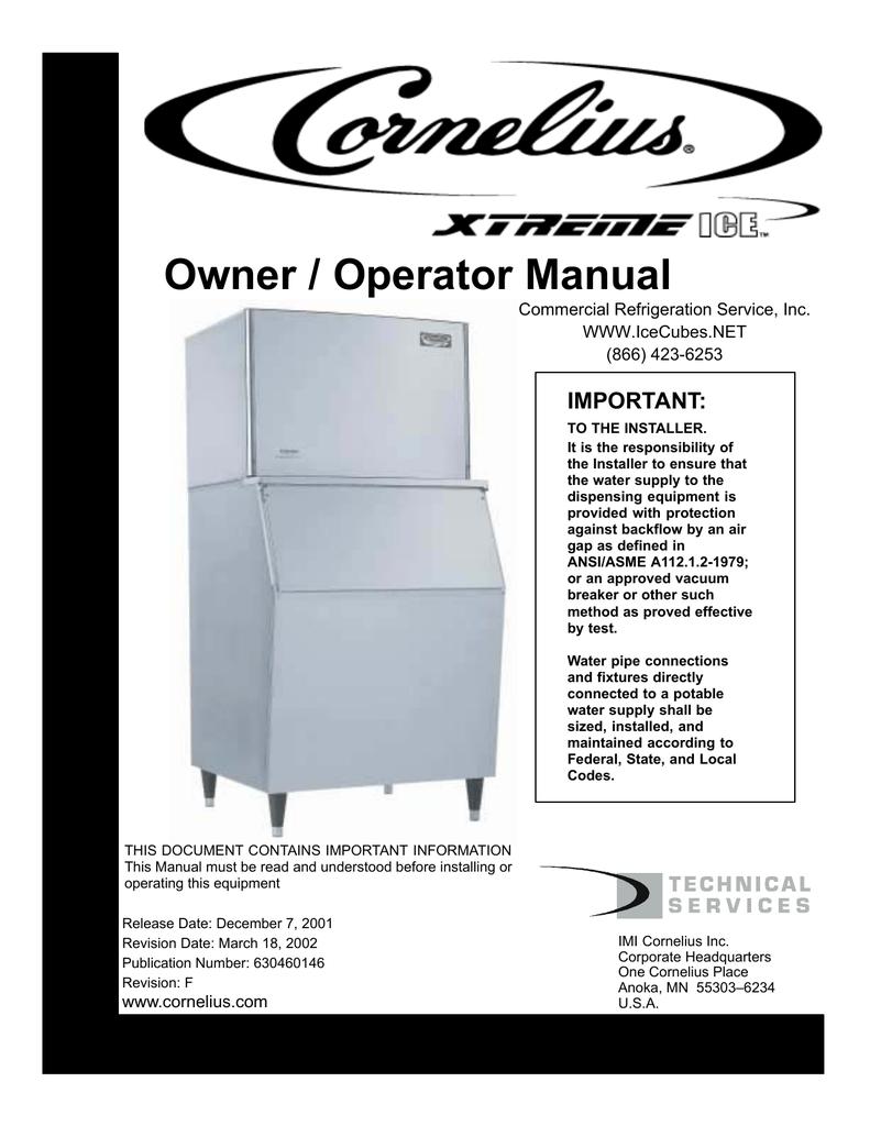 Cornelius 500-Series Specifications | manualzz.com