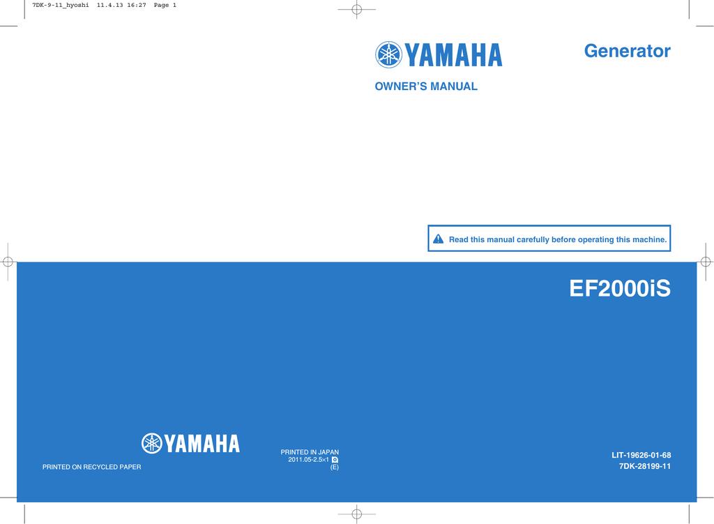 Yamaha EF2000iS - Inverter Generator Owner`s manual