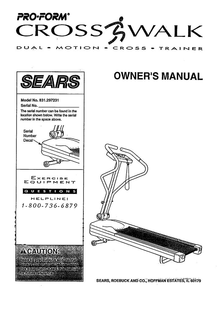 ProForm Crosswalk 831 297231 Owner`s manual | manualzz com