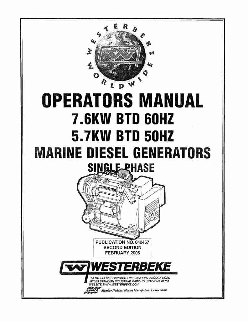 Westerbeke 5.7 KW BTD 50 Hz Installation manual   manualzz.com on