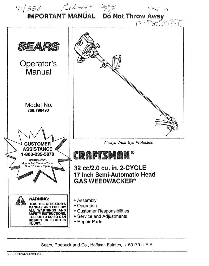 Craftsman 358 798490 Operator`s manual | manualzz com