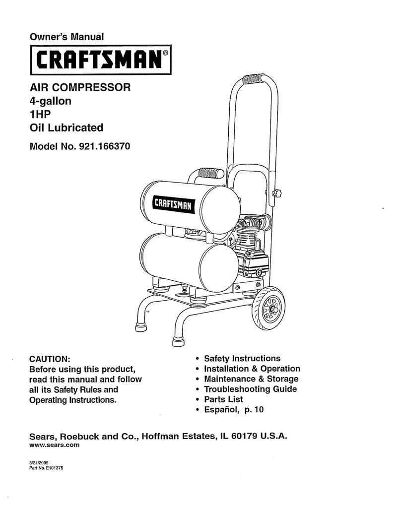 Sears Craftsman 919 177541 Air Compressor Parts