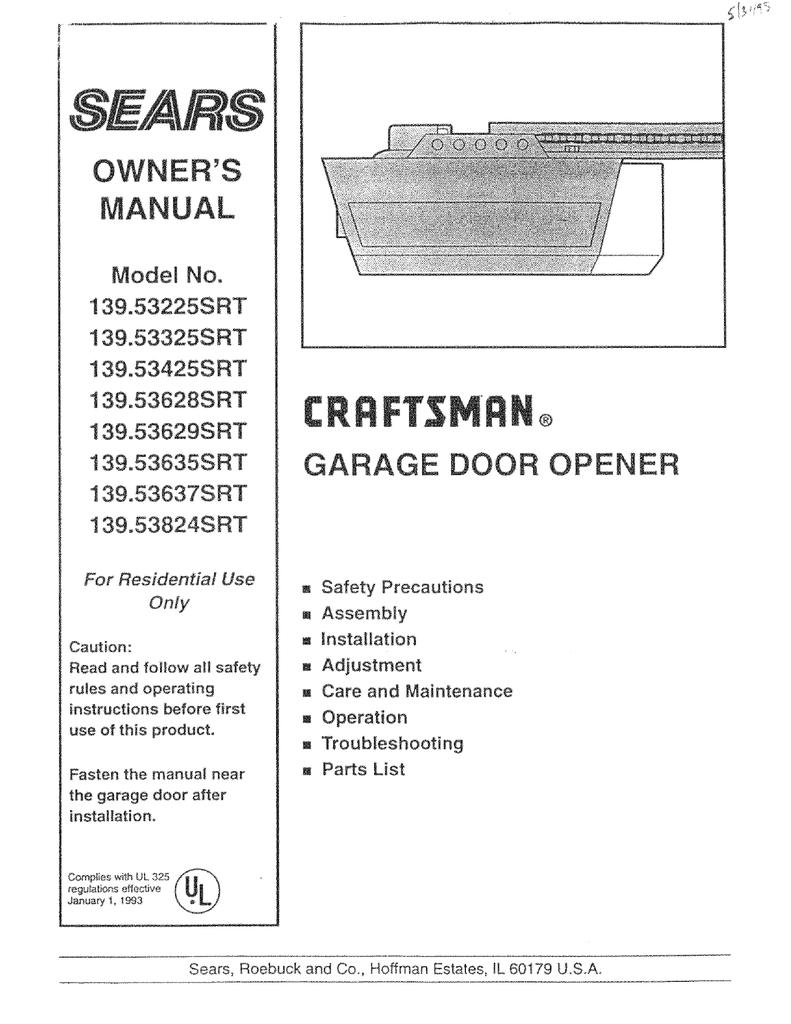 Craftsman 139 53629srt Operating Instructions Manualzz