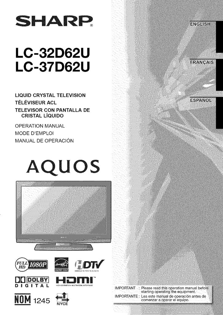 sharp aquos lc 37d62u operating instructions manualzz com rh manualzz com Sharp AQUOS 60 Inch TV Sharp AQUOS 60 Inch TV
