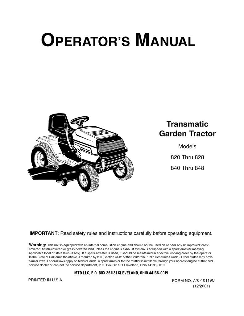 MTD 190-758 Operator`s manual | manualzz com