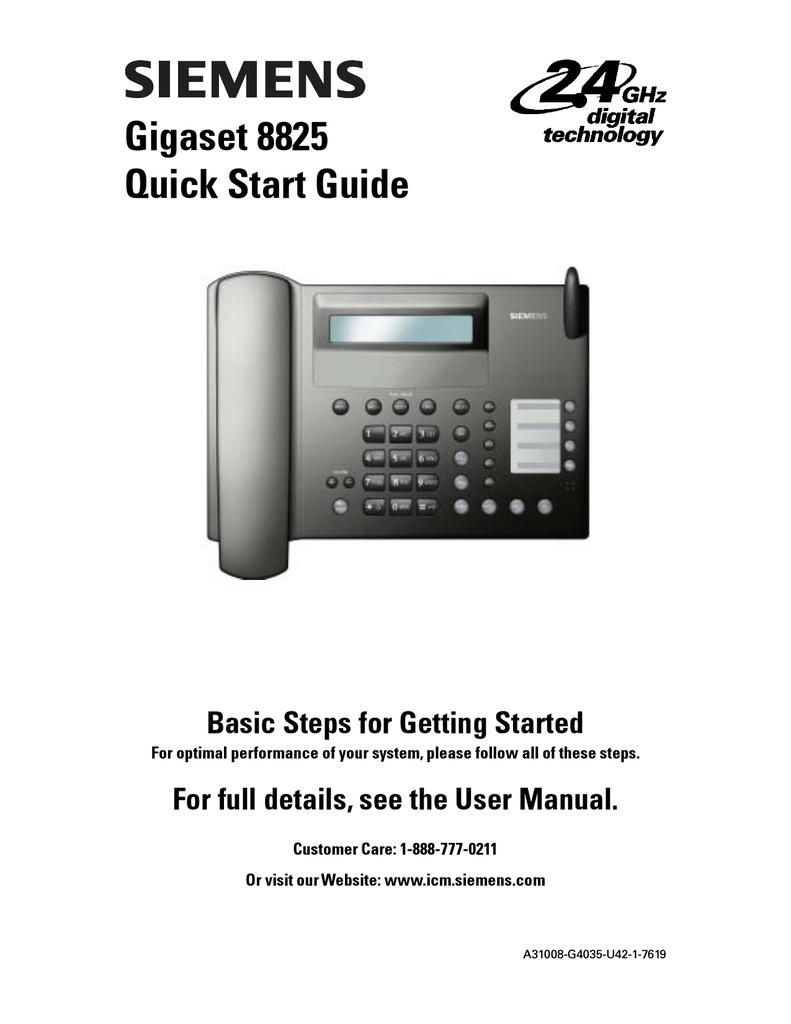 SIEMENS 8800 GIGASET CORDLESS HANDSET W BASE /& POWER 8825 SYSTEM