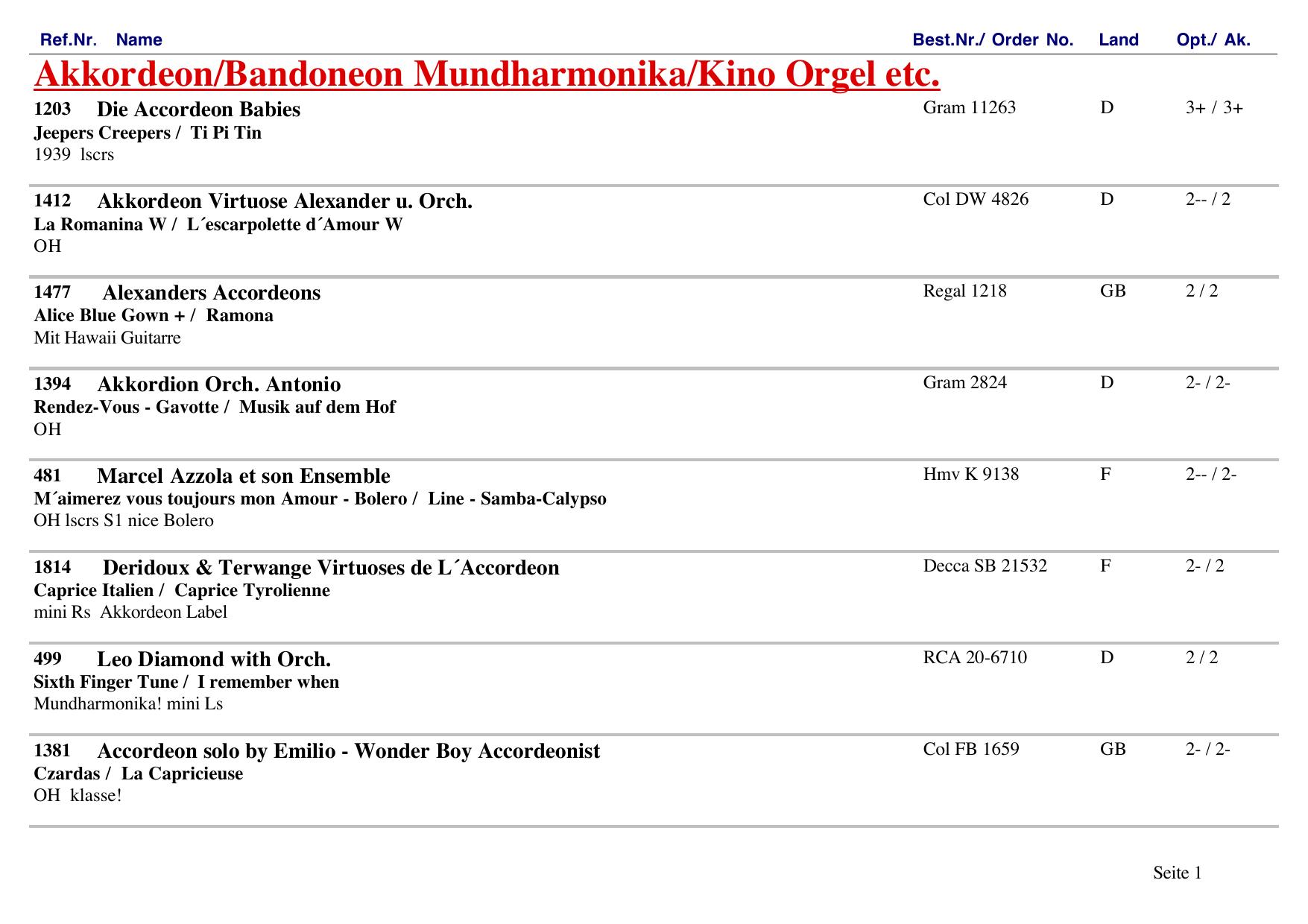 k103 100% Wahr Schallplatten Parade Decca Platten Nummern Katalog Klassik Nr Weich Und Leicht 1