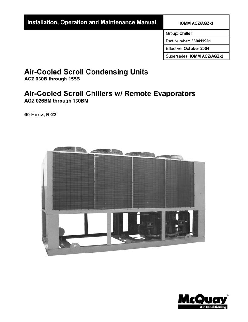 Mcquay Acz 055a Unit Installation Circuit1 Beginners Guide Avr Programming